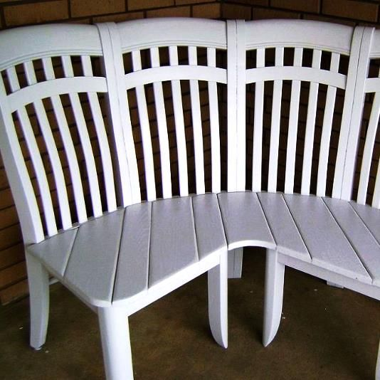 Repurposed chairs into a cute corner bench | Corner bench ...