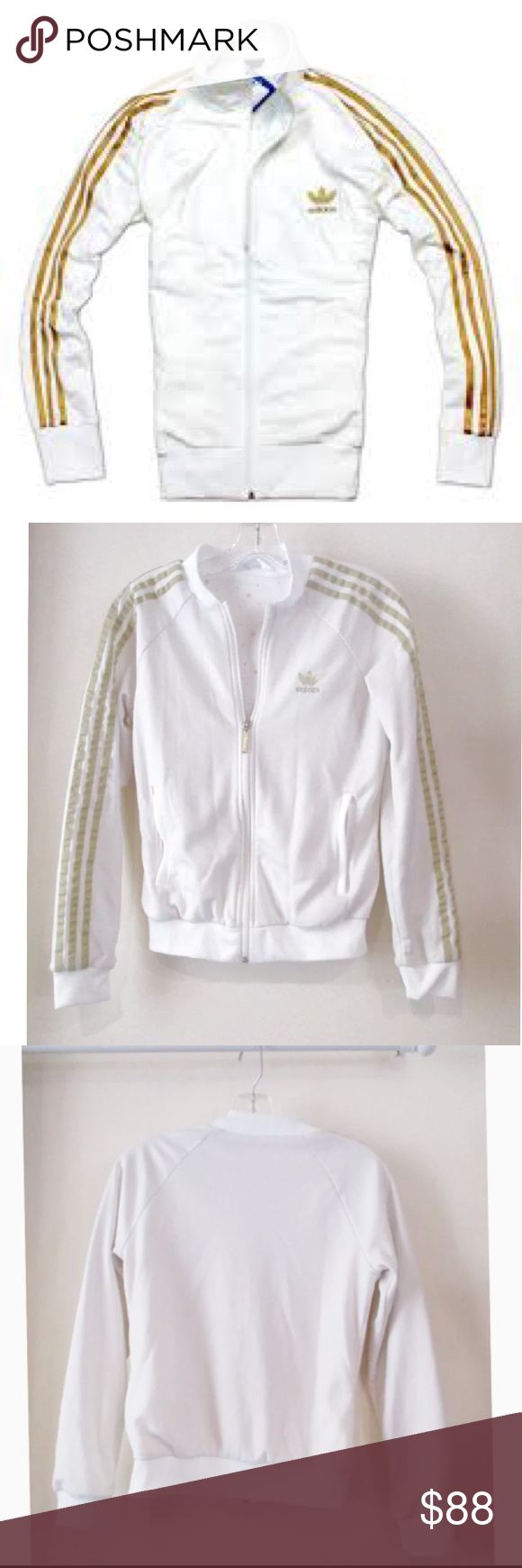 e79e868e71ed ADIDAS ORIGINALS White + Gold SUPERSTAR JACKET Features  - Adidas Gold  TREFOIL Embroidered Logo - Signature 3 Stripes on Arms - Gold Zipper ...