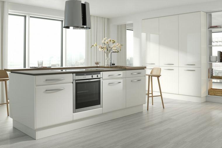 cocina blanca con toques de madera | Interiores para cocina ...