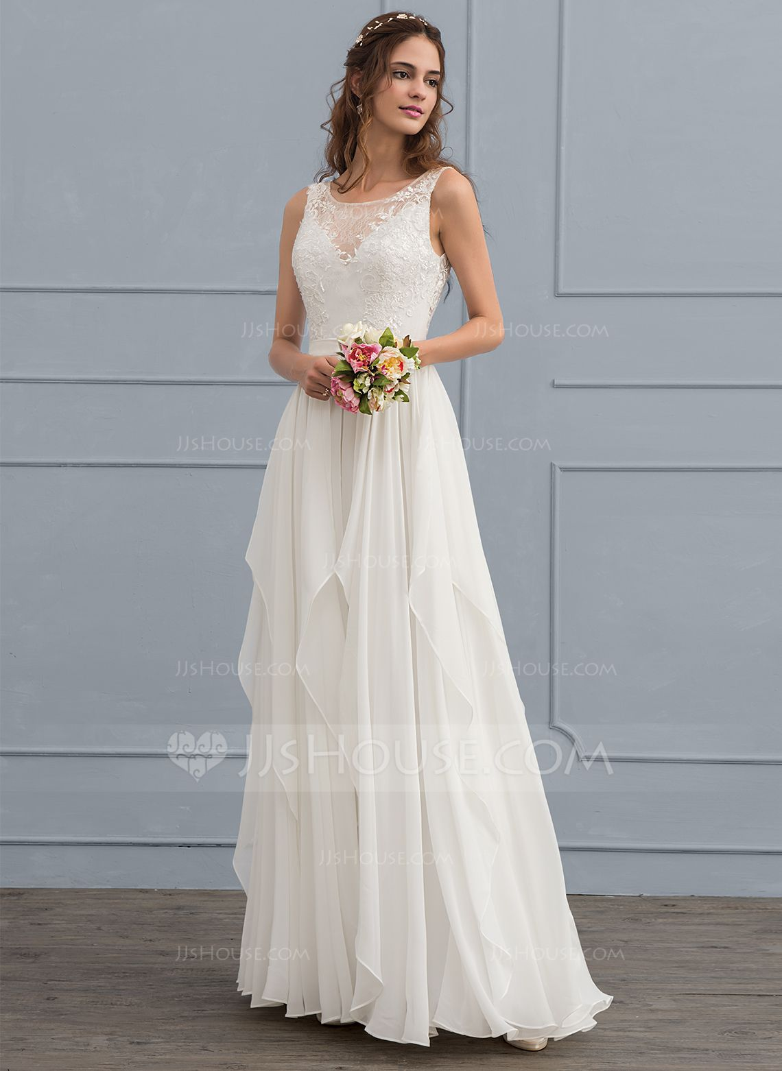 168 00 A Line Illusion Floor Length Chiffon Wedding Dress With Cascading Ruffles Jj S House Ruffle Wedding Dress Wedding Dress Patterns Wedding Dresses Plus Size [ 1562 x 1140 Pixel ]