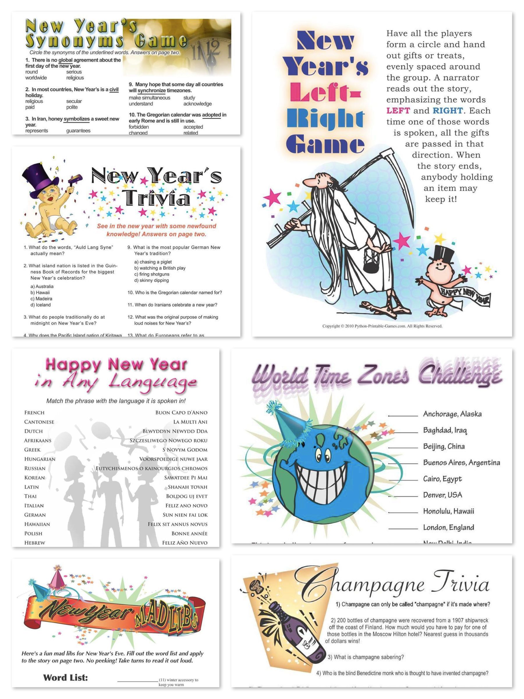 Printable New Years Party Games New year's games, New