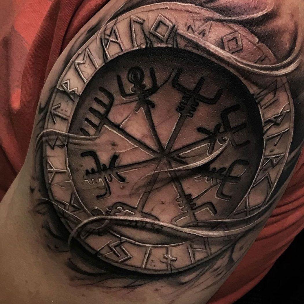 Vegvisir & Runes Viking tattoo symbol, Rune tattoo