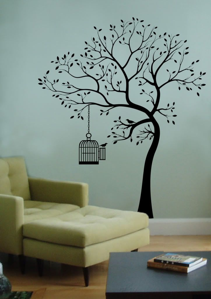 Details About Wall Decal Big Tree Bird W Cage Deco Art Sticker