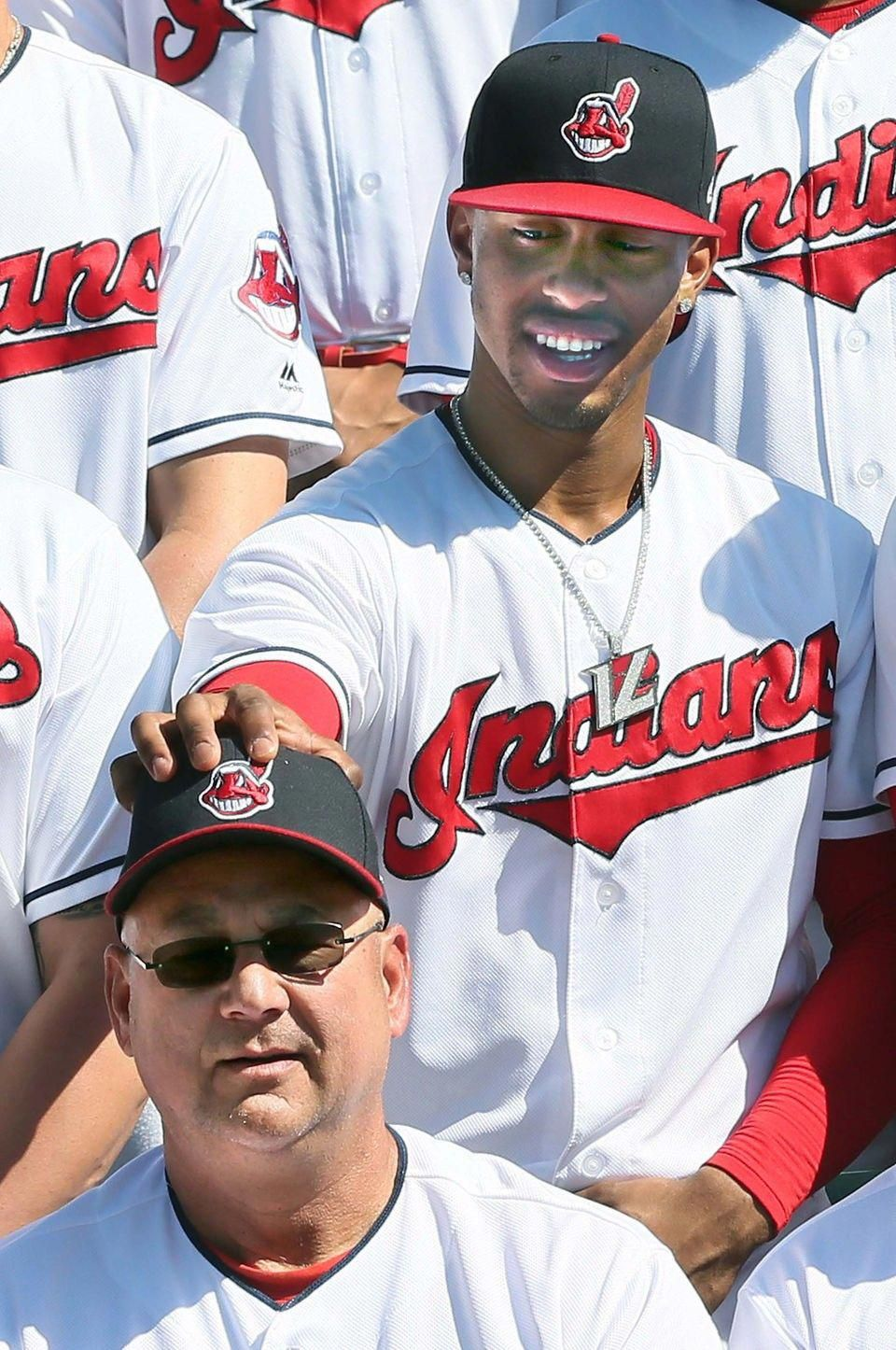 Cleveland Indians Francisco Lindor adjusts the baseball