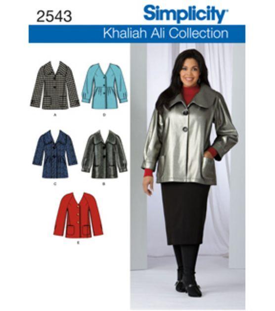 Simplicity Pattern 2543-Plus Size Jackets Coats-Sz 10-18 at Joann.com