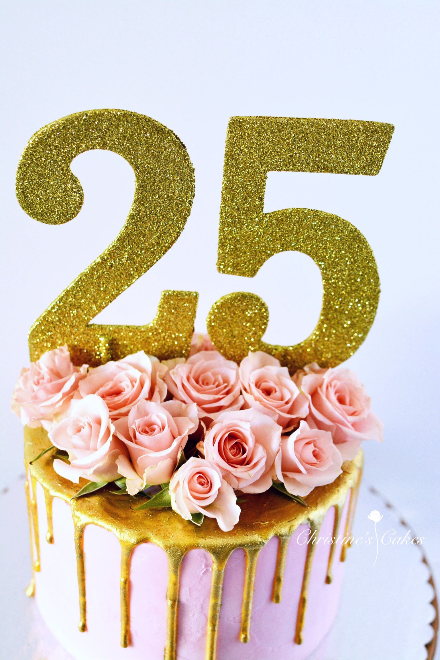 25th Birthday Birthday Cake Pink Spray Roses Floral Cake Gold