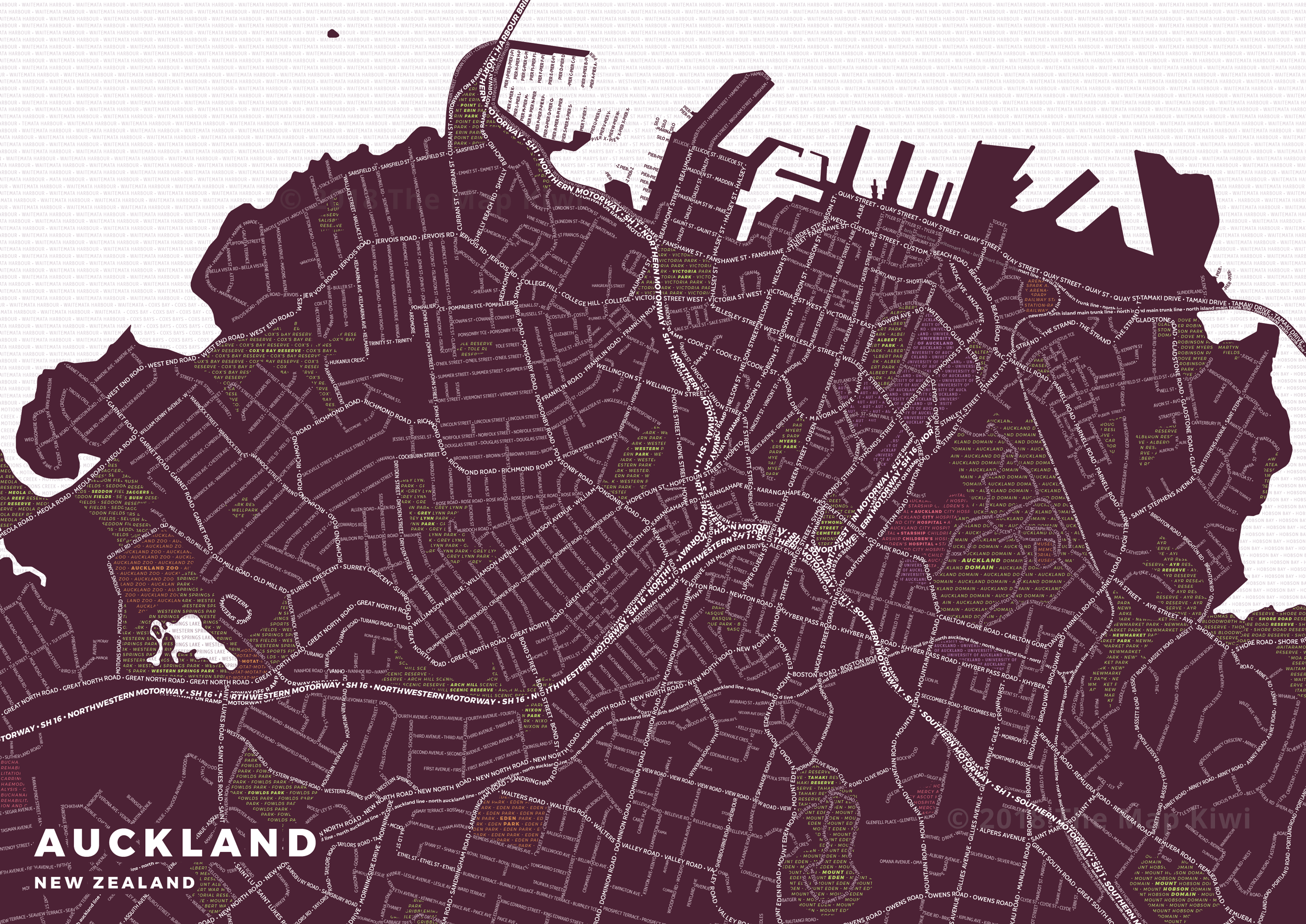 Typography Map of Central Auckland New Zealand