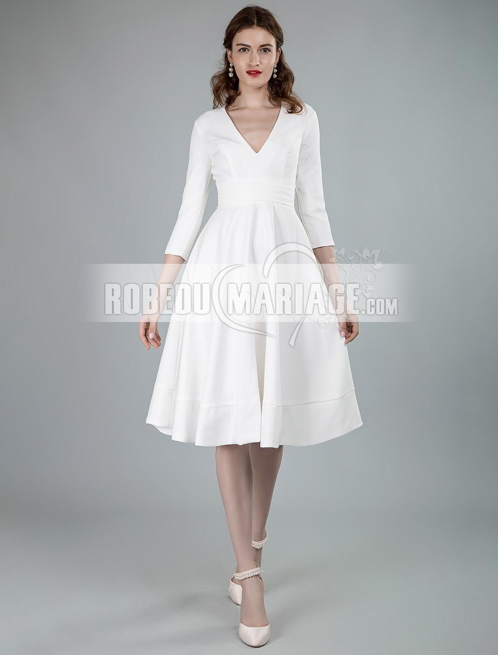 Robe De Mairee Courte Col En V Avec 3 4 Manches Robe Sur Mesure Pas Cher Robe2014994 Robedumariage Co Robe De Mariee Courte Robe Sur Mesure Robe De Mariee