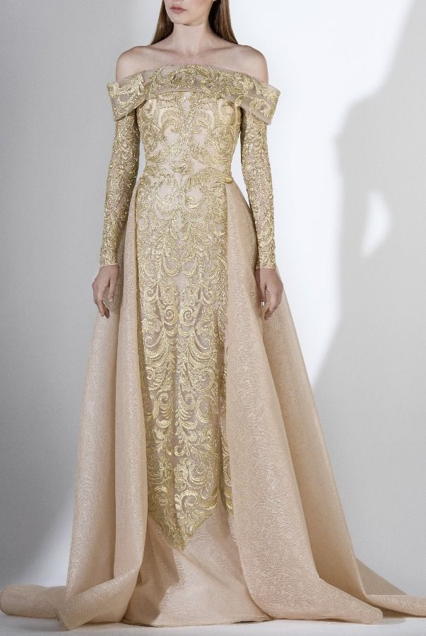 Sk By Saiid Kobeisy 3411 Gold Off The Shoulder Gown W Overskirt Poshare Fantasy Dress Fantasy Gowns Evening Gowns