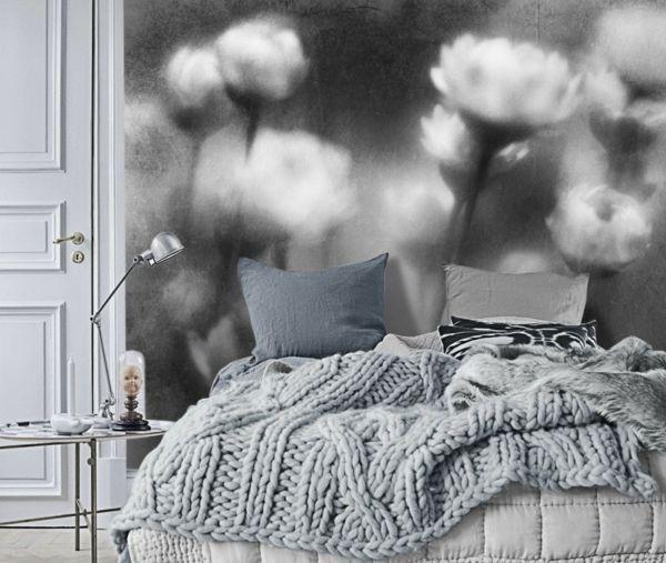 Schlafzimmer Einrichten Tapeten Schwarz Weiß