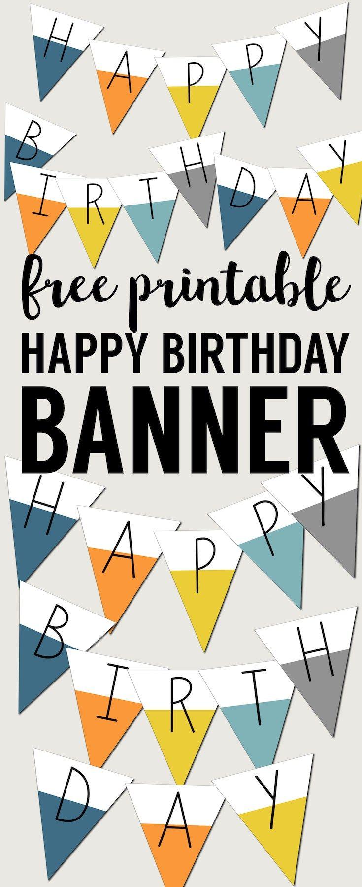 Free Printable Happy Birthday Banner Paper Trail Design Printable Birthday Banner Happy Birthday Signs Happy Birthday Banner Printable