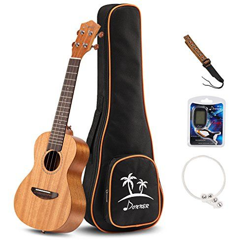 Donner Concert Ukulele Mahogany DUC1 23 inch with Ukulele Set Strap Nylon String Tuner ** You can find out more details at the link of the image.Note:It is affiliate link to Amazon.