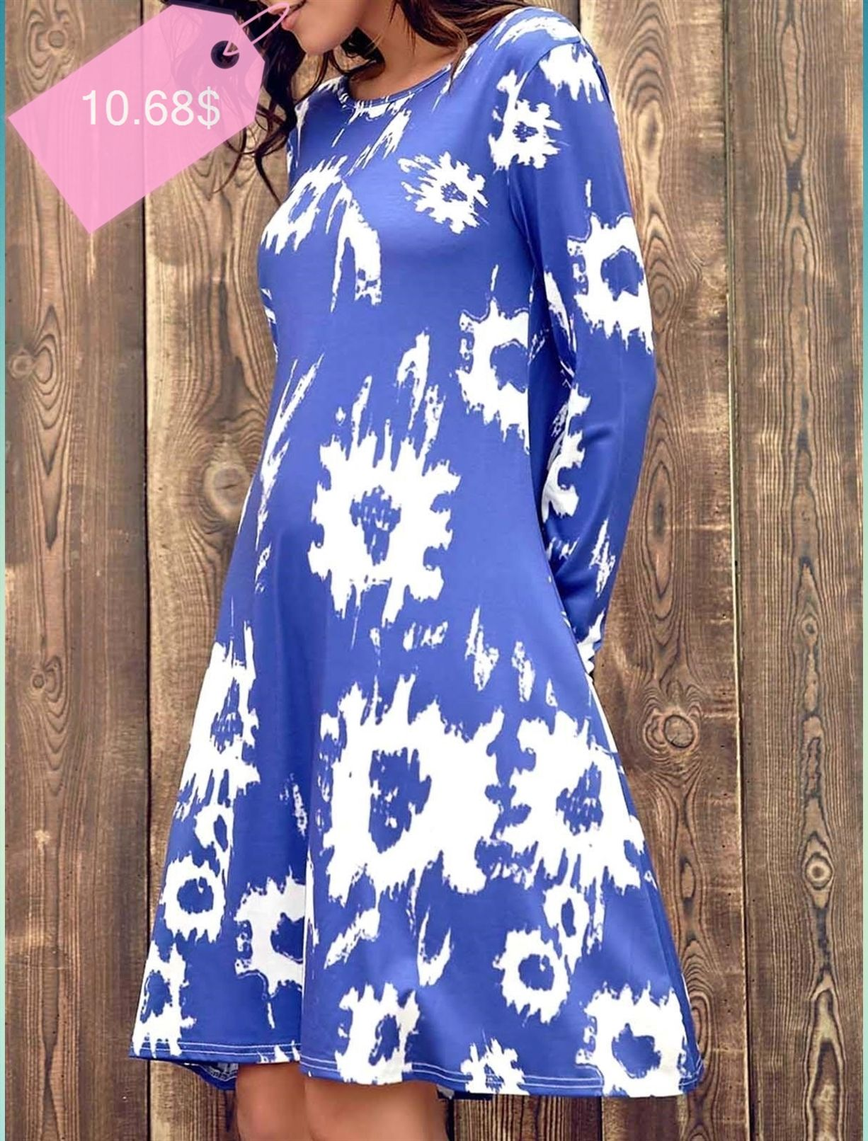 Chic jewel long sleeve abstract printed tshirt dress for women