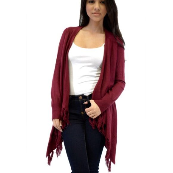 Burgundy  knit open draped fringe jacket Clearance Great Great chic style draped open fringe jacket this looks great with anything ONE DAY SALE NO ADDITIONAL BUNDLE DISCOUNT PLEASE DO NOT BUY THIS LISTING WILL MAKE A SEPARATE ONE WITH SIZE NEEDED ONLY BURGUNDY LEFT Jackets & Coats