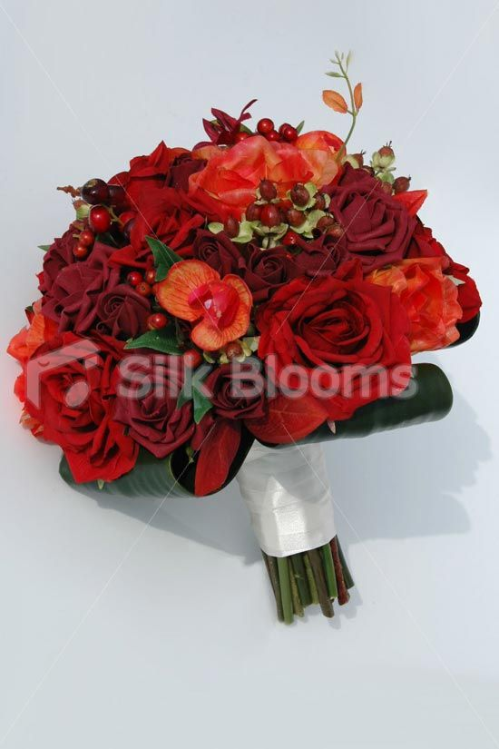 Autumn Berry Bridal Bouquet with Red & Burgundy Roses & Orchids Autumn Berry Bridal Bouquet with Red & Burgundy Roses & Orchids [Lori - Bride (2)] - £89.99 : Silk Blooms UK