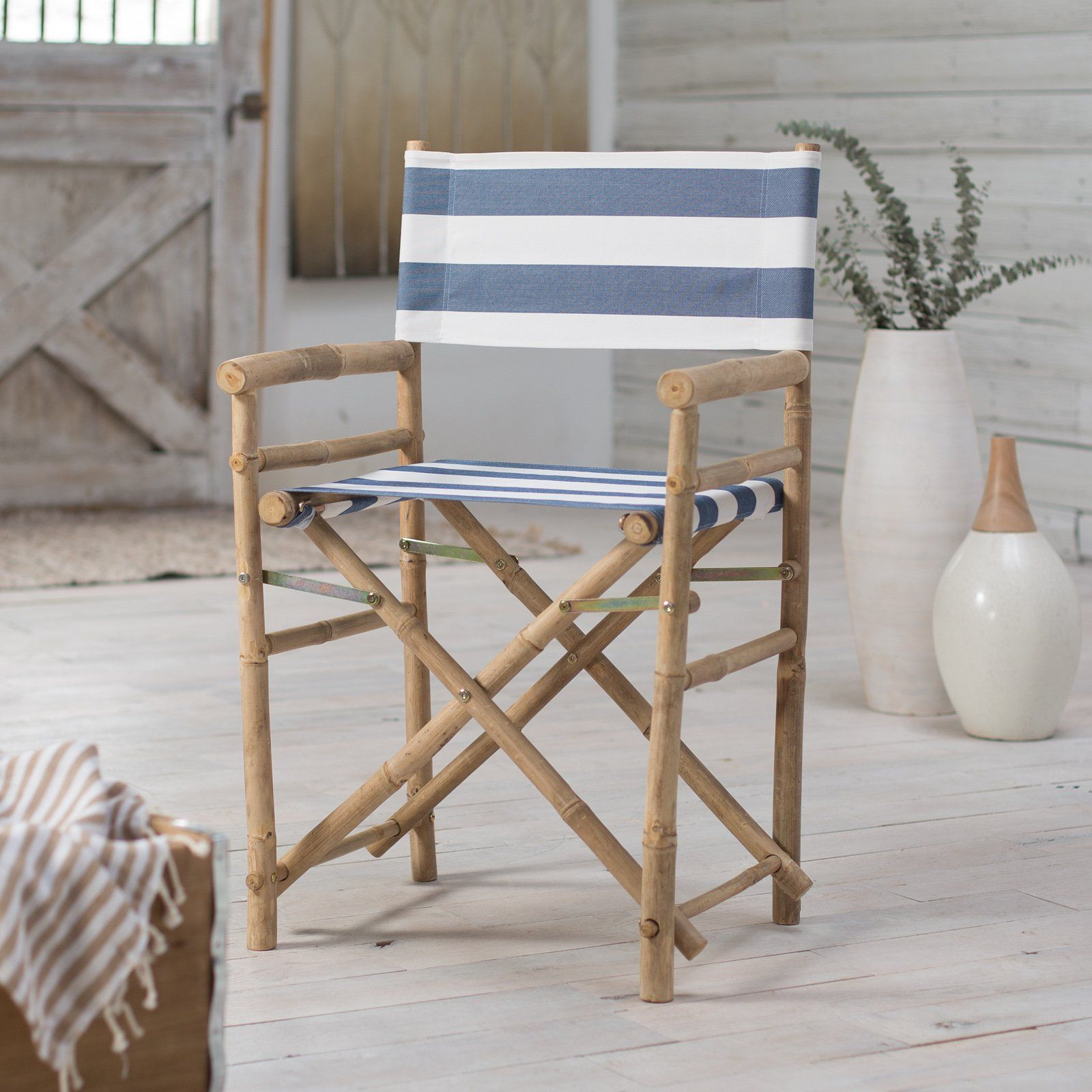 Striped Directors Chairs Ethan Allen Rocking Chair Bamboo 18 Inch Standard Height With Stripe Cover Set Of 2 Ch 007 0 22