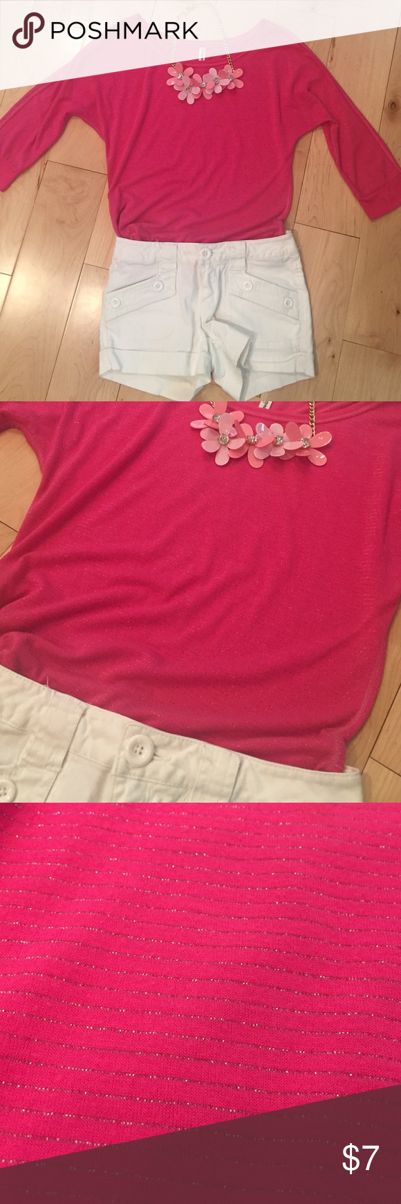 Pink quarter sleeve top Light weight and comfortable. Hot pink with silver stripes! Looks really cute with white shorts! Selling because I've only worn it a few times! For pictures on feel free to ask! Aeropostale Tops