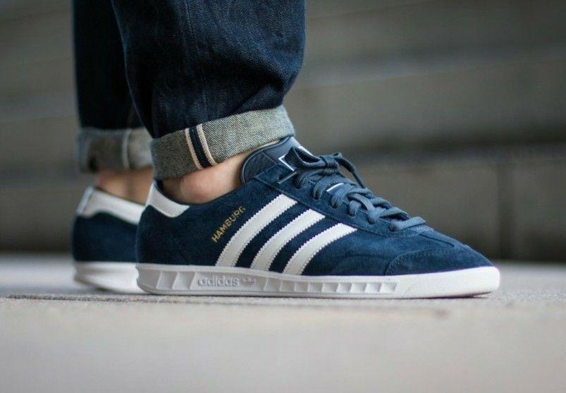 Hamburgs in collegiate navy/white/white on the street   Adidas ...