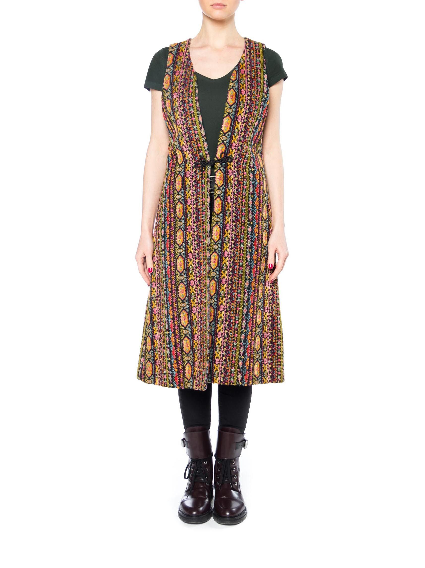 Boho ethnic multicolor long vest with frog closure products