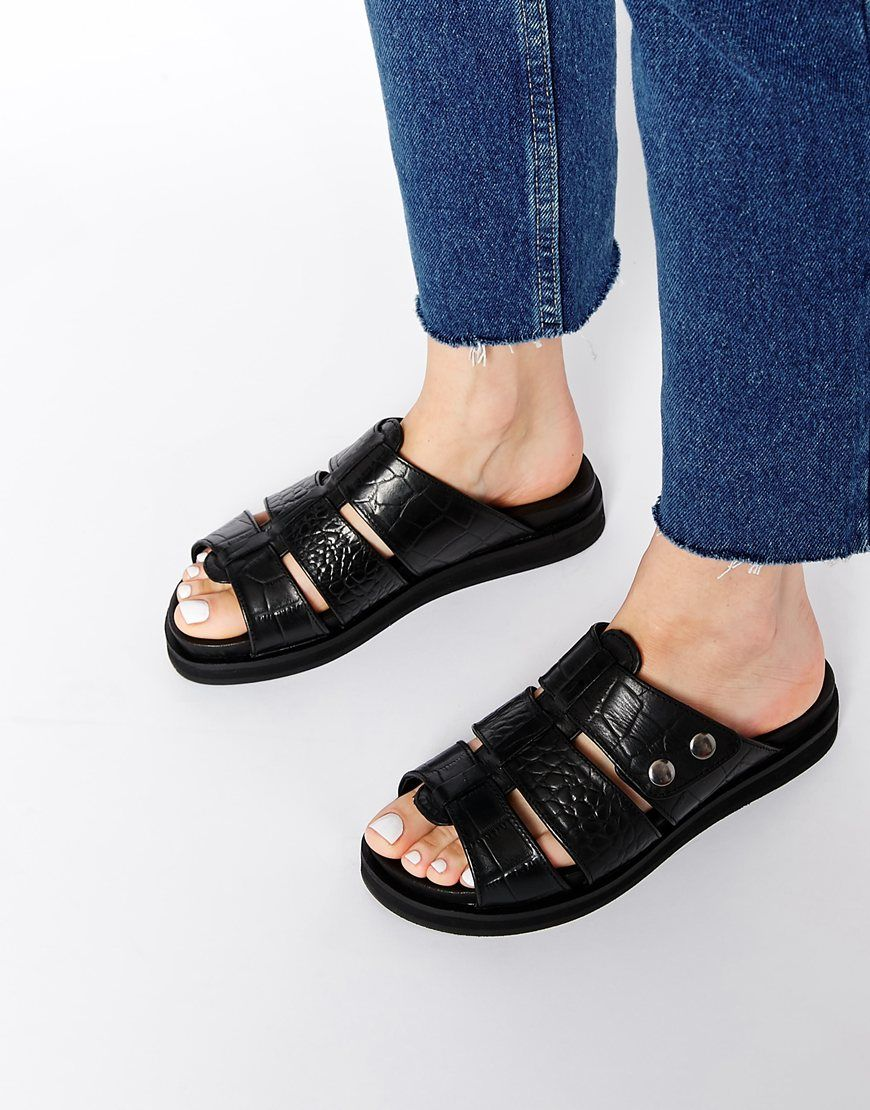 Buy Women Shoes / H By Hudson Sparta Black Leather Flat Sandals