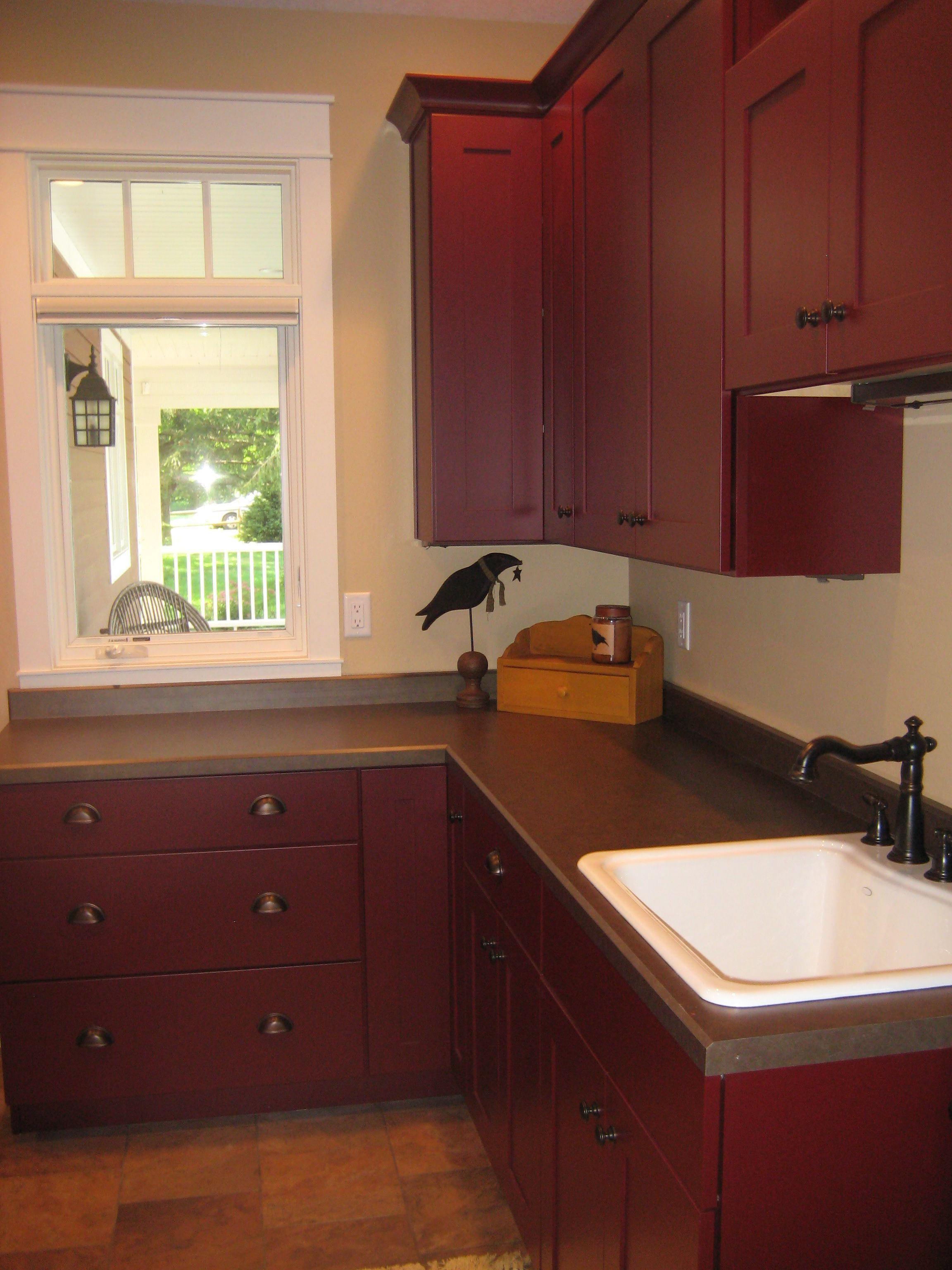 Laundry Room Red With Black Washer And Dryer Look Is Very