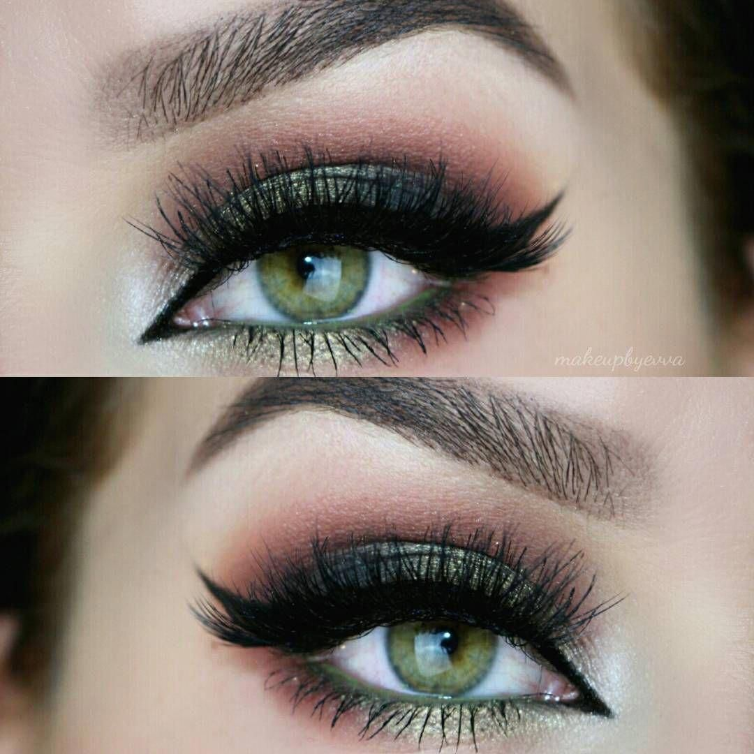 shimmery forest green smokey eye blended into berry red