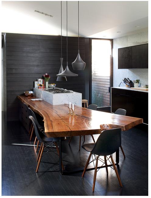 Modern Organic Interior Design Kitchen Slab Dining Tables Wood