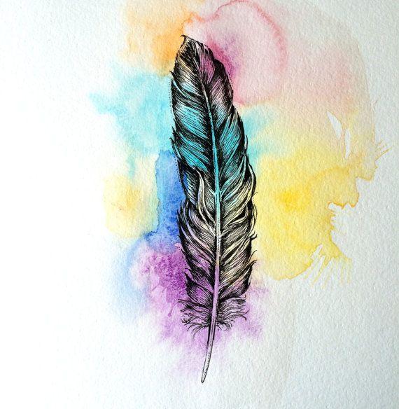 colorful feather original drawing zeichnungen und zeichnen. Black Bedroom Furniture Sets. Home Design Ideas