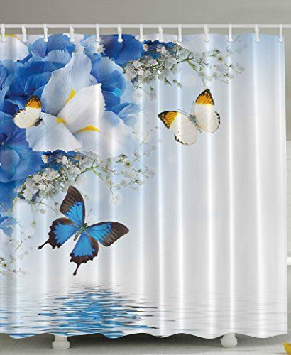 ... Spa Home Decor Blue White Wild Flowers Monarch Yellow Butterflies Theme  Lily Therapy Zen Reflection Floral Bathroom Lake House Decor Art Prints  Design