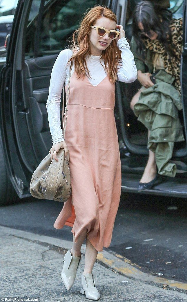 Emma Roberts looks sweet in pale pink slip dress in New York ...
