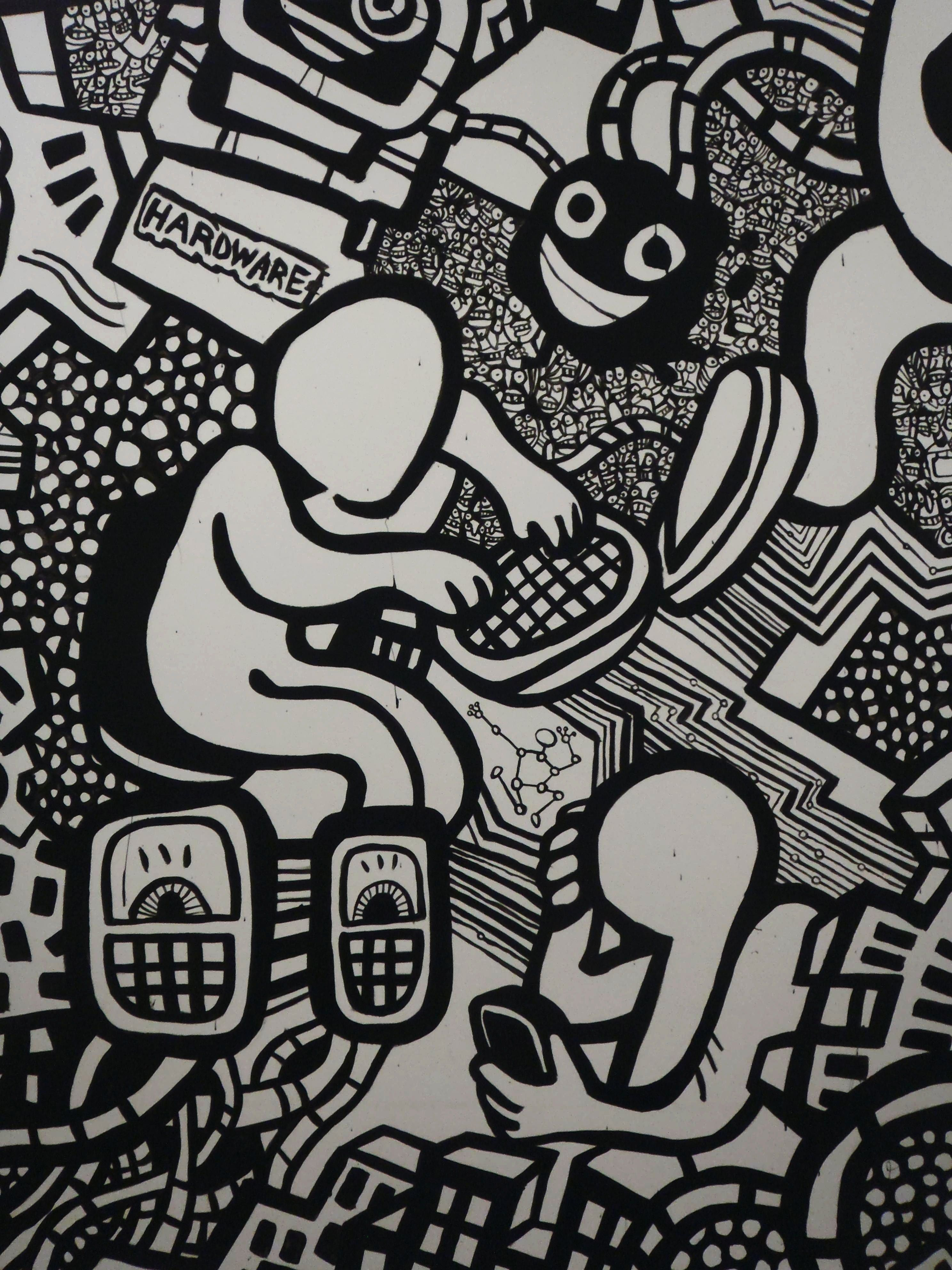 Black and white illustrated mural black and white art graffiti murals heyapathy surreal comics