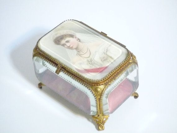 Large Antique French beveled Glass Jewelry Box by FrenchCampagne