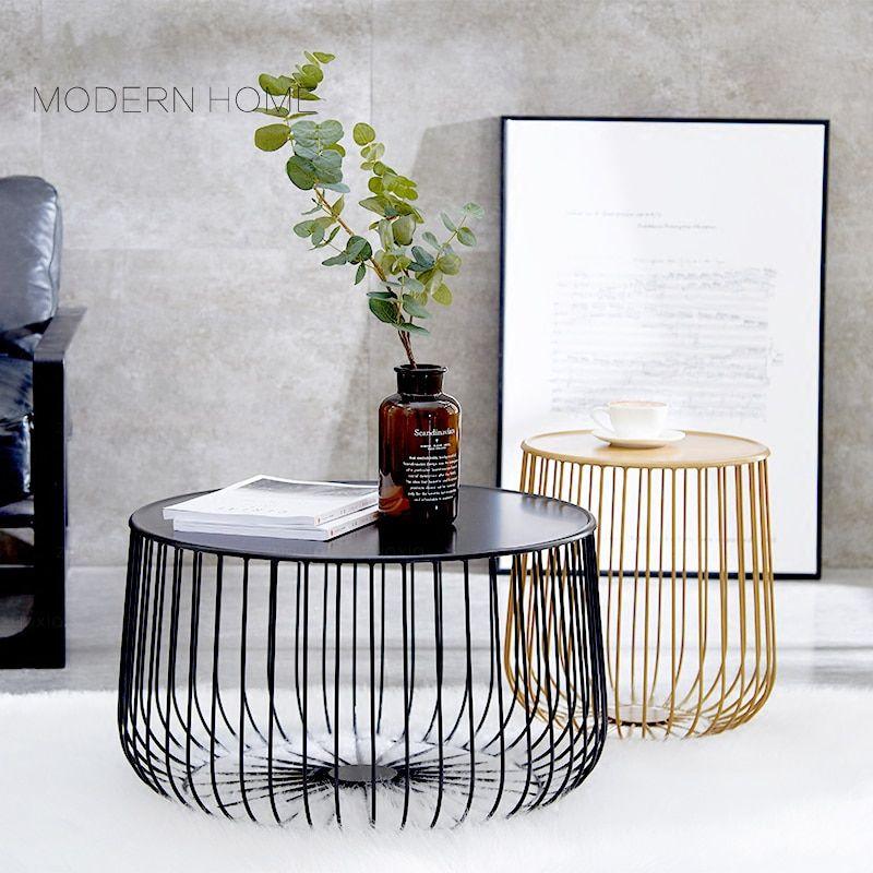 זול אופנה פופולרי עיצוב מודרני שחור דלעת זהב מתכת צד סלון שולחן תה
