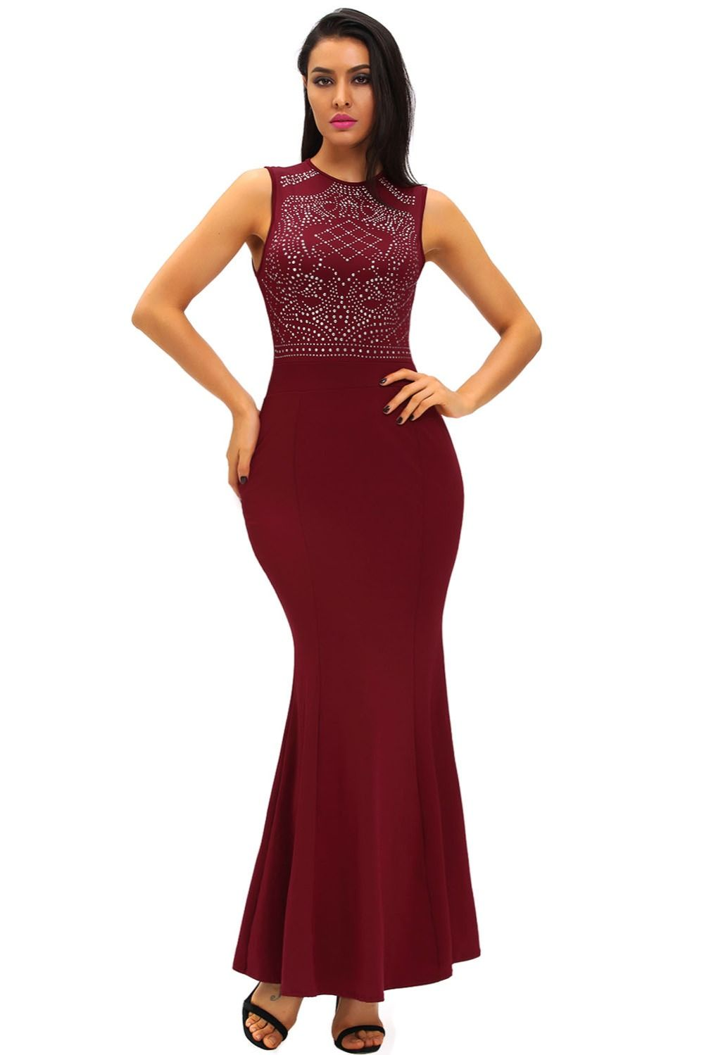 Click to buy ucuc sleeveless long gown black shimmering rhinestone