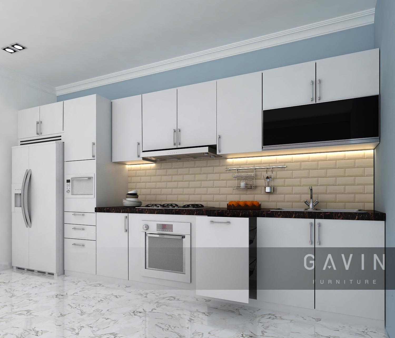 Kitchen Set Minimalis Dibuat Dengan Finishing Hpl Berwarna