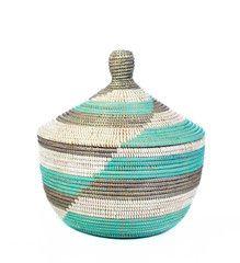 African Storage Basket - Aqua Chevron - Basket Handmade in Africa - Swahili Modern - 1