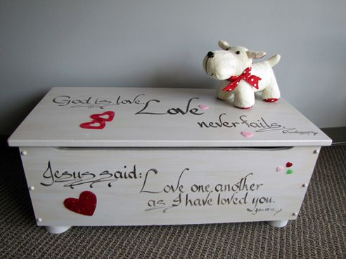 God is Love toy chest designed by Nancy Newbern and Diane Blythe of Rare Assets, Inc. for Dallas CASA