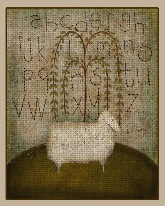 Primitive Sheep Sampler Digital Art Download 11x14 by MarysMontage, $4.00