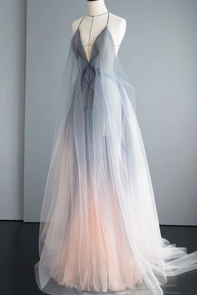 Gray Tulle Open Back Long A Line Prom Dress, Evening Dress