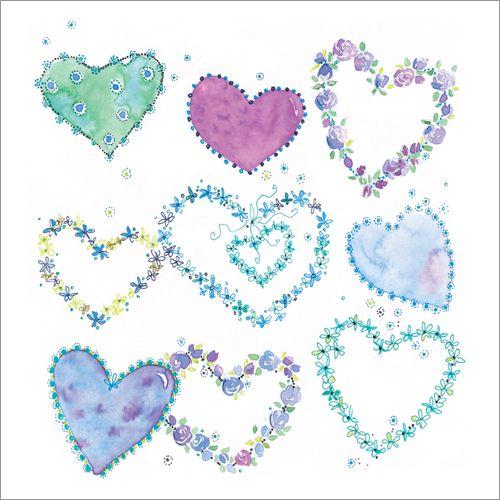 Blue Hearts - Greetings Card #CarolineStokleIndependentPhoenixTrader #CarolinesCardsandStationery