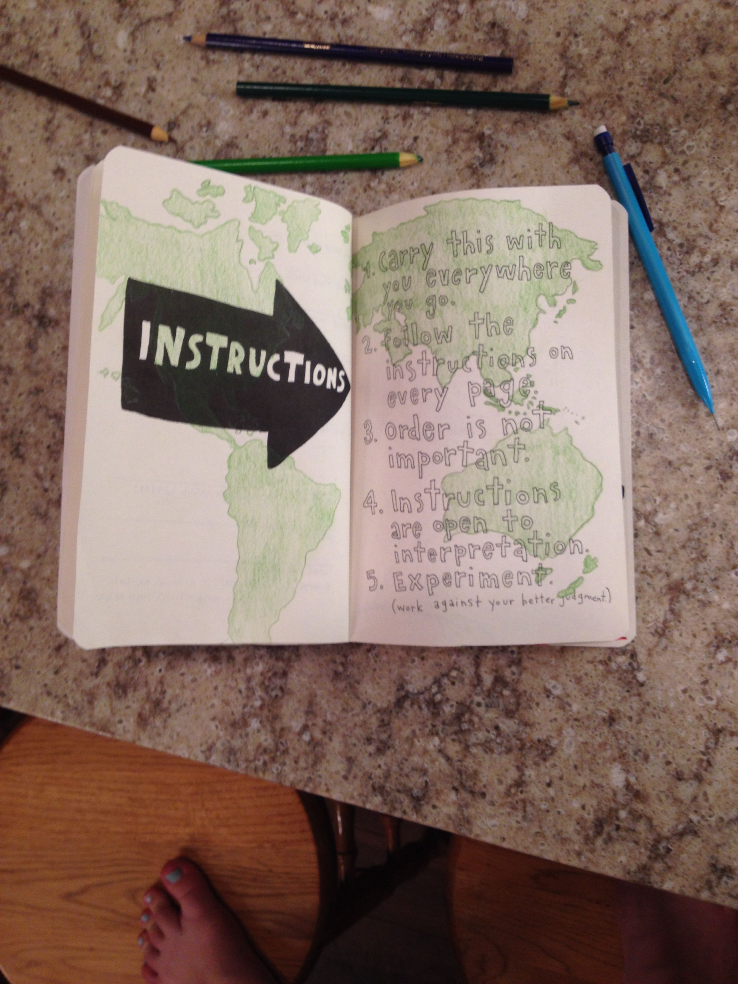Wreck This Journal: • Instruction Page Ideas • Simple World Map Outline • Plainly Colored Green • Easy By~ Trinity