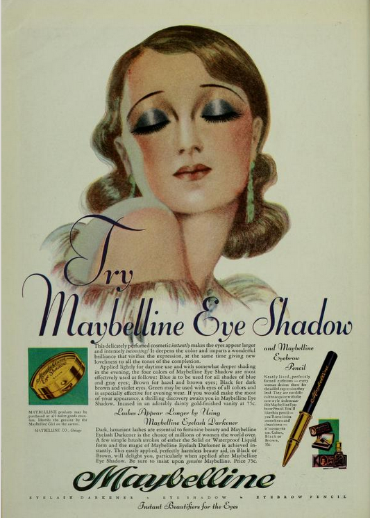 "LOVE flapper make-up and this 1920s ad from Maybelline! The original ""smoky eye."" ;)"