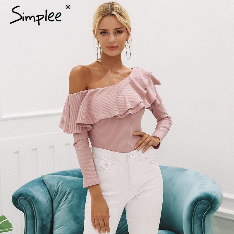 d046de44b0f Купить Simplee одно плечо оборками блузка рубашка женские пикантные узкие  длинные рукава Топы трикотажные повседневные хлопковые Блузы новые модные  женские ...