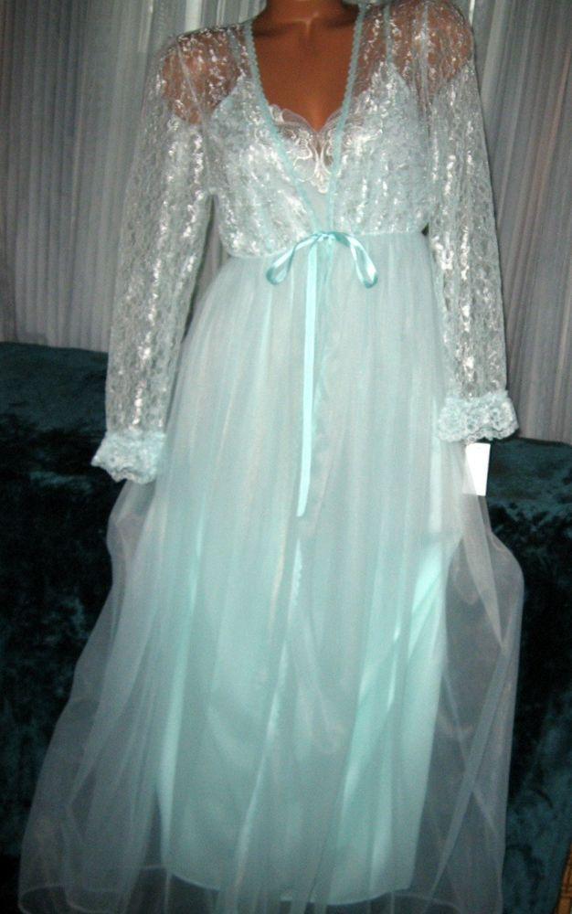 Bridal Mint Green Long Nightgown Amp Robe Set S M L Chiffon
