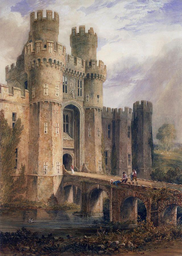 Medieval Castle Painting : medieval, castle, painting, AnaDolorosa, Laclefdescoeurs:, Hurstmontceaux, Castle,, John..., Castle, Painting,, Fantasy