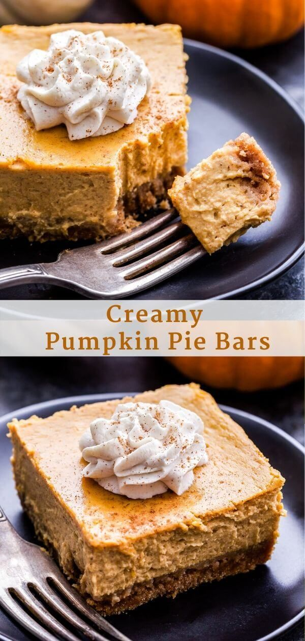 These Creamy Pumpkin Pie Bars are an easy, must make dessert to serve this Thank…