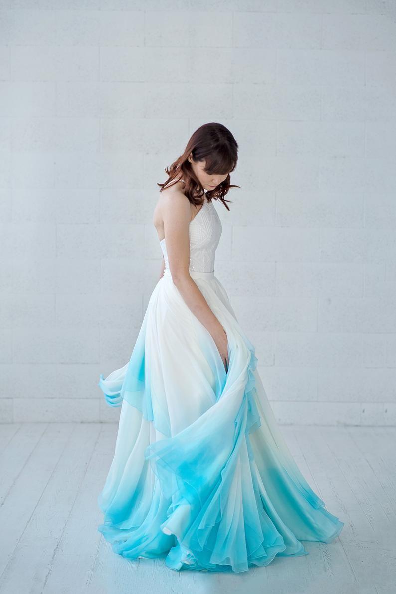 Xylona Bohemian Wedding Dress Chiffon Wedding Dress Bridal Separates High Low Wedding Dress Flowing Bridal Gown In Wrap Design Ombre Wedding Dress Blue Wedding Dresses Wedding Dresses Unique [ 1189 x 794 Pixel ]