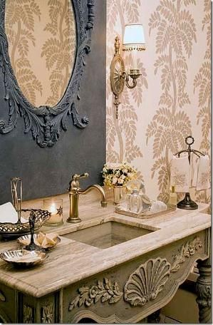 Pretty French Country Powder Room Charles Faudree By Debra