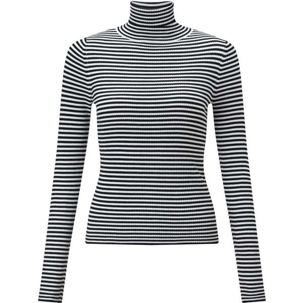 ac00d814e90ee Miss Selfridge Knitted Black White Stripe Rib Jumper (315 THB) â ¤ liked on  Polyvore