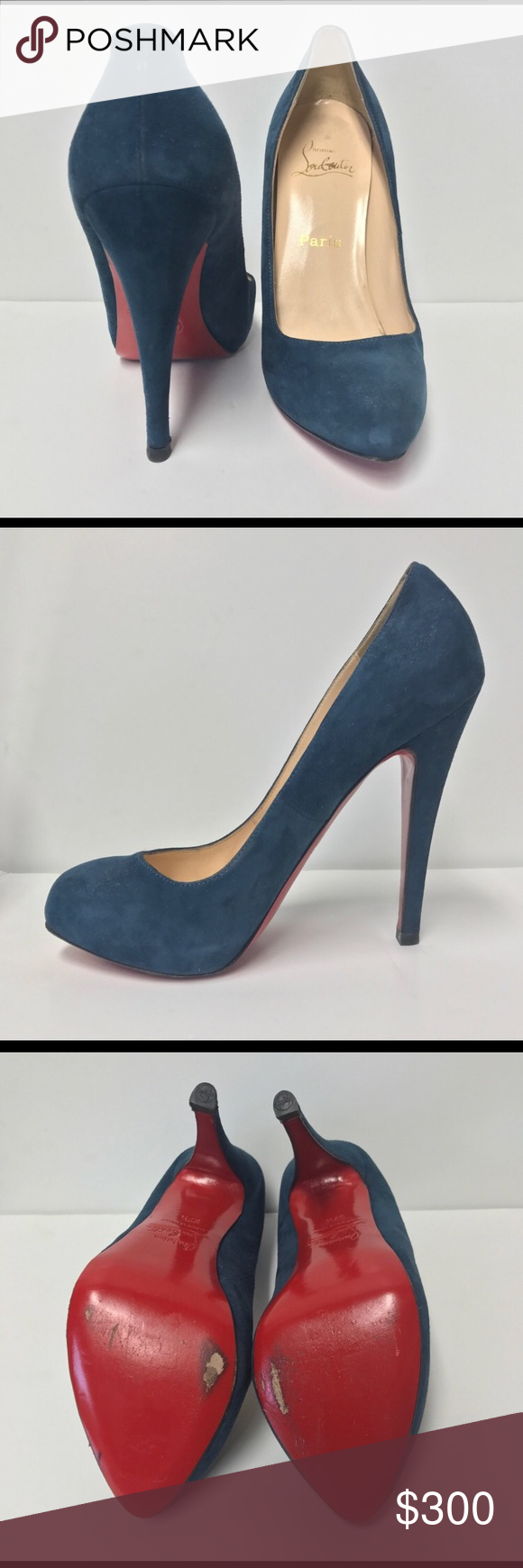 16fe224375f Christian Louboutin pumps Blue suede Christian Louboutins. Posh purchase  but they are a little too